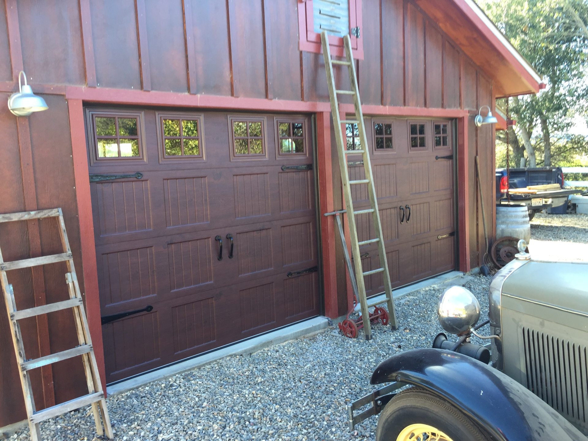 Unique Garage Door Insulated w/ Stockton windows, straps, and custom woodgrain color